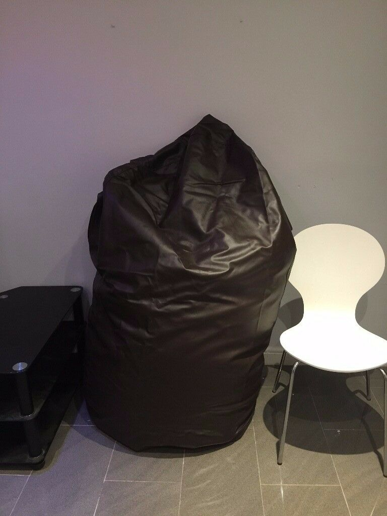 Giant Brown Leather Faux Bean Bag suitable for Sofa or sleepover