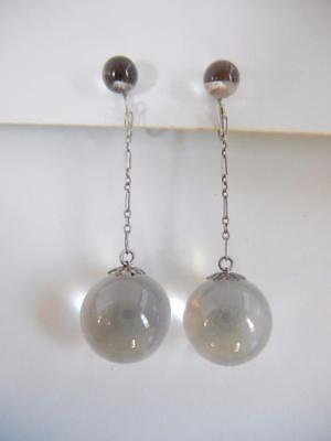 """Vtg Art Deco 2 1/8"""" Dangle Earrings Pools of Light Rock Crystal Quartz Sterling"""