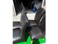 Dining chairs x 4 in oak with dark brown upholstered leather finish high back in excellent condition