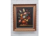 'Still Life Vase of Flowers' Oil-on-canvas, in a gilt wood (DELIVERY AVAILABLE)