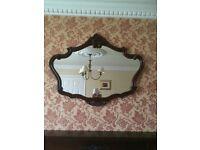 Mahogany ornate mirror & large slate clock for sale