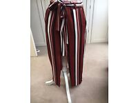 Size 10 wrap Primark skirt with black, white, and burgundy stripes - NEW with tags
