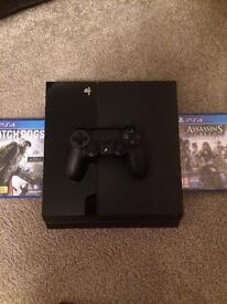 PS4 500gb with two games and a controller