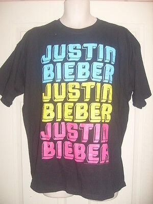 JUSTIN BIEBER black T-shirt mens/ladies/girls Size XL 16,18