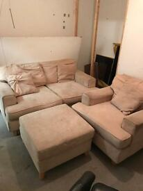 Cream double sofa, arm chair and foot rest