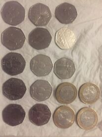 £2 and 50p collectible coins