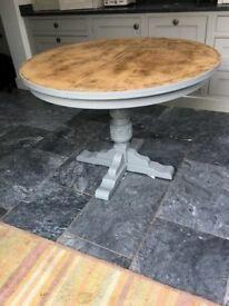 Painted, stripped and waxed extending table. Lovely condition, painted in a Farrow and Ball Grey