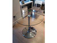 LARGE CIRCULAR GLASS TOP DINING TABLE CAFE STYLE ROUND BREAKFAST
