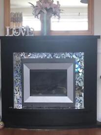Black electric fireplace