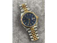 Rolex Datejust 16233 Blue Dial Box & Papers