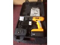 maxwerk battery drill 2x batteries and charger in case