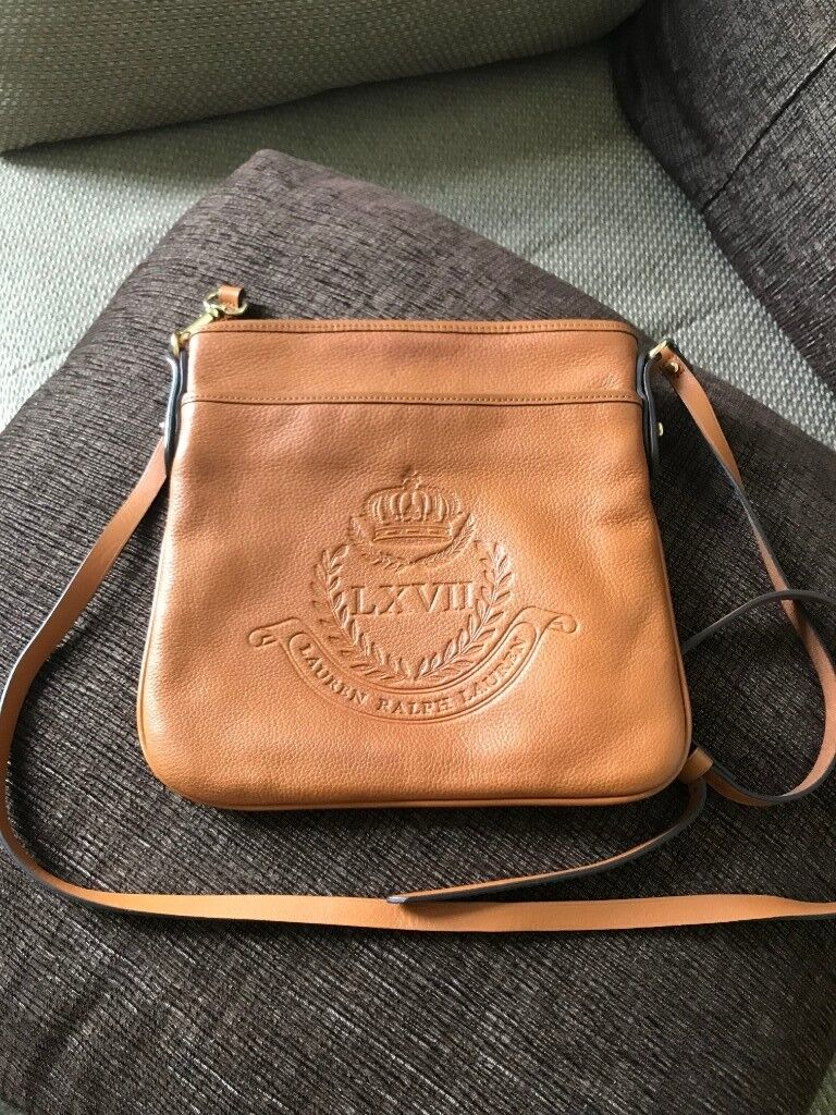 68d3f7d799ba Ralph Lauren Genuine Leather Women s Cross Body Bag with long straps and  gold detail