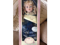 3 porcelain dolls collectables in boxes