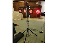 KAM LED Parbar MKiii Lighting package. Foot control to change sequence,stand and bag.Little used