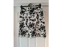 Black and white floral skirt size 10