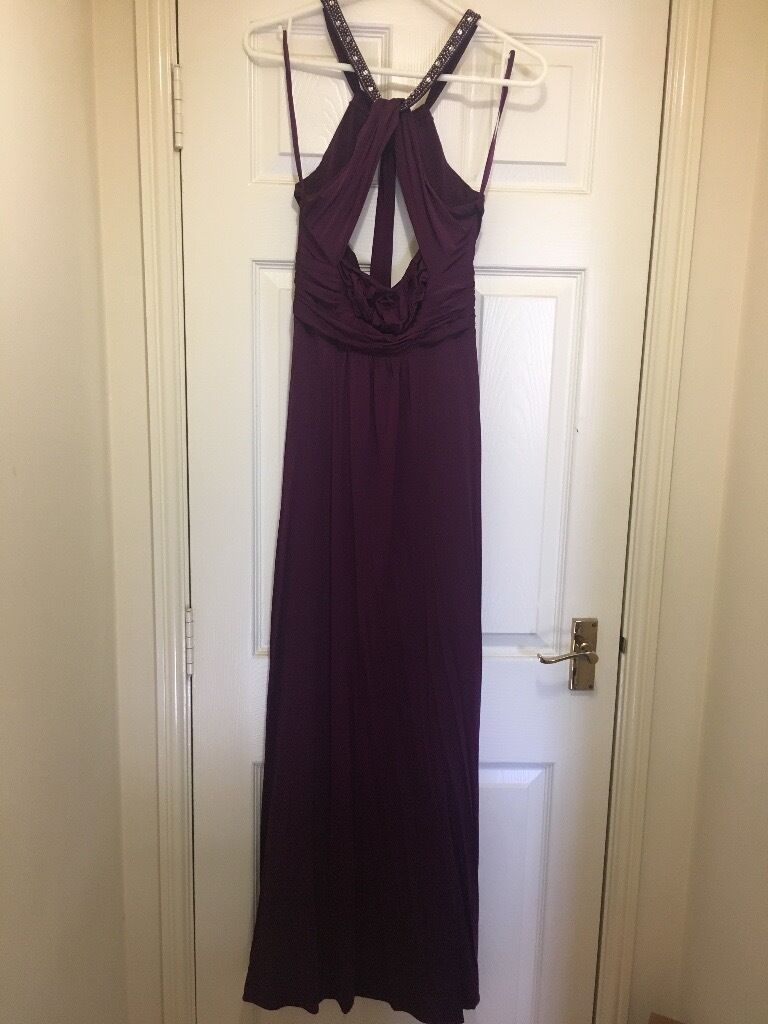 Purple Evening Gown/Prom Dress/Bridesmaid Dressin Swindon, WiltshireGumtree - Purple Evening Gown/Prom Dress. Worn Once. From Smoke Free Home. Size 8/10. Open Back With Jewelled Halter. £120 ono