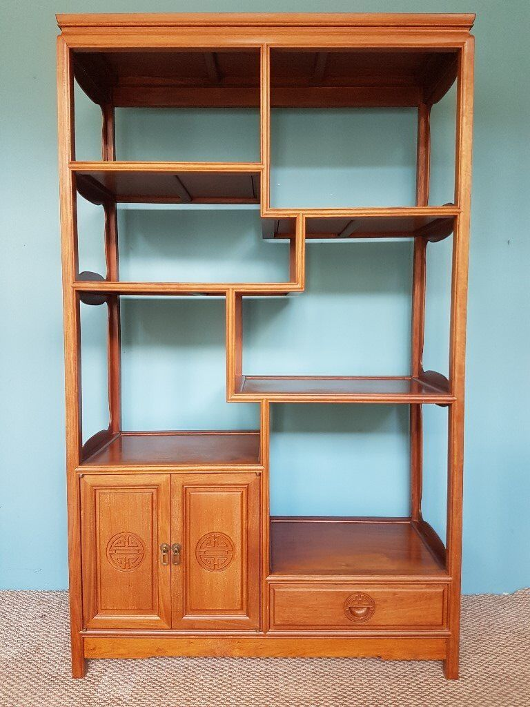 Decorative vintage chinese hardwood open display shelving unit