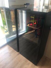 2 x high gloss black cabinets
