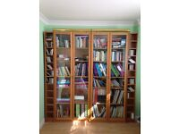 Urgent sale! IKEA Bookcases with Glass Doors, Lighting and CD Storage