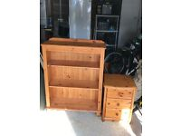 Solid pine bookcase and bedside cabinet