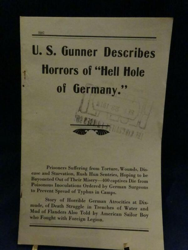 WWI Keen Kutter War Bulletin US Gunner Describes Horrors of Hell Hole of Germany