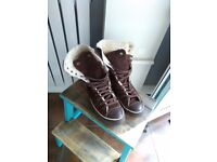 Converse X-hi dark brown suede lace-up fleece lined boots size 6 39