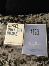 Aftershave Perfume Diesel Only The Brave 35Mls & Thierry Mugler Angel 25ml edp Spray brand new