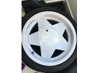 Borbet A 16 inch 4x100 alloy wheels and tyres.