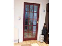 2 DARK WOOD internal glass panelled doors