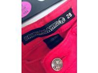 Criminal damage hot pink skinny jeans alternative emo