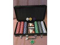 Poker set 300 piece Texas Holden Chips Cards Dice Decks Casino Case Game