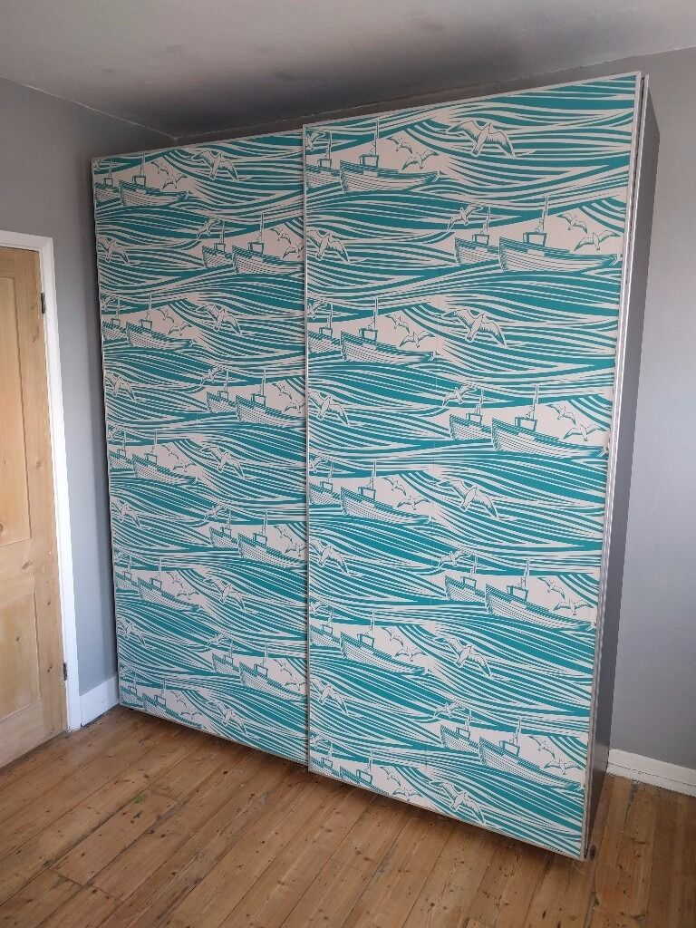 IKEA PAX Wardrobe Upcycled With Mini Moderns Wallpaper For Sale