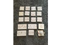 18 Assorted Used White Switches and Sockets
