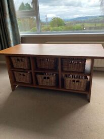 IKEA Coffee Table / TV stand with six wicker baskets