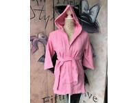 Brand New Pink Hooded Terry Towel Robe 100% Cotton