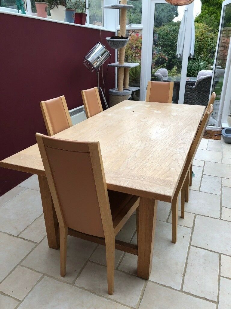 Dining Room Chairs Heals oak dining room table and oak and leather dining room chairs bought