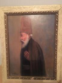 An early 18th century oil on panel Persian elder