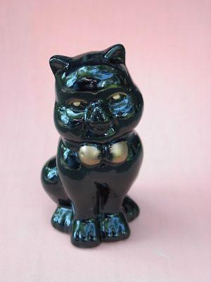 "Black Cat Figurine Ceramic Gold Eyes Bow Chubby Cheeks Halloween Kitty Statue 5"""