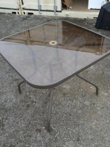 """Oakville Small Patio Table 34"""" Square Glass and Metal Outdoor Outside Brown Summer Balcony Dining Eating"""