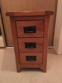 Small rustic solid oak bedside table