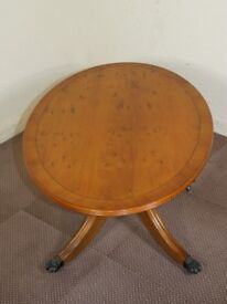 GOLDEN YEW WOOD TILT TOP OVAL COFFEE TABLE FREE DELIVERY EDINBURGH GLASGOW TAYSIDE FIFE AREAS