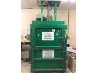 Hydraulic cardboard baler, runs on single or 3ph electric supply.