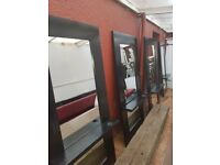 X 3 black barber / hairdressing mirrors