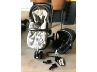 BLACK QUINNY BUZZ XTRA BUGGY TRAVEL SYSTEM WITH MAXI COSI CAR SEAT AND JOHN LEWIS FOOTMUFF