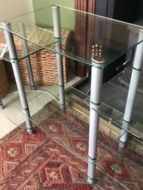 Large TV Unit Metal Glass Six Shelves Great Condition