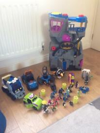 Imaginext superheroes figures, vehicles and bat cave