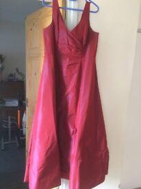 size 16 full length deep red dress