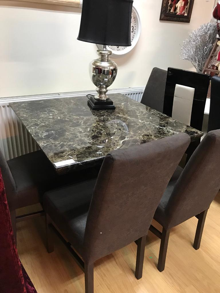 Mocha Marble Dining Table And Chairs