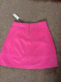 Teen girls river island pink soft touch suedette skirt