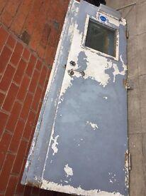 Heavy metal door fire exit & heavy metal staircase / fire exit